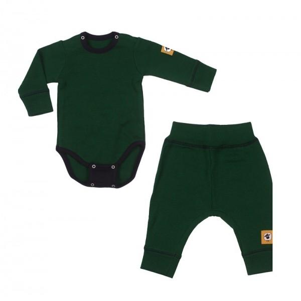 Бебешки мерино комплект от две части в зелено