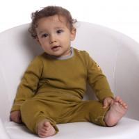 Бебешки мерино комплект от две части в цвят горчица