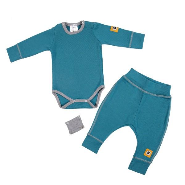 Бебешки комплект от 100% МЕРИНО в синьо