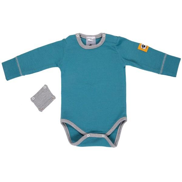 Бебешко боди с удължител от 100% МЕРИНО в синьо