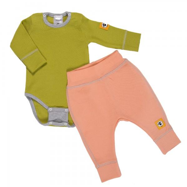 Бебешки комплект от 100% МЕРИНО в зелено и розово