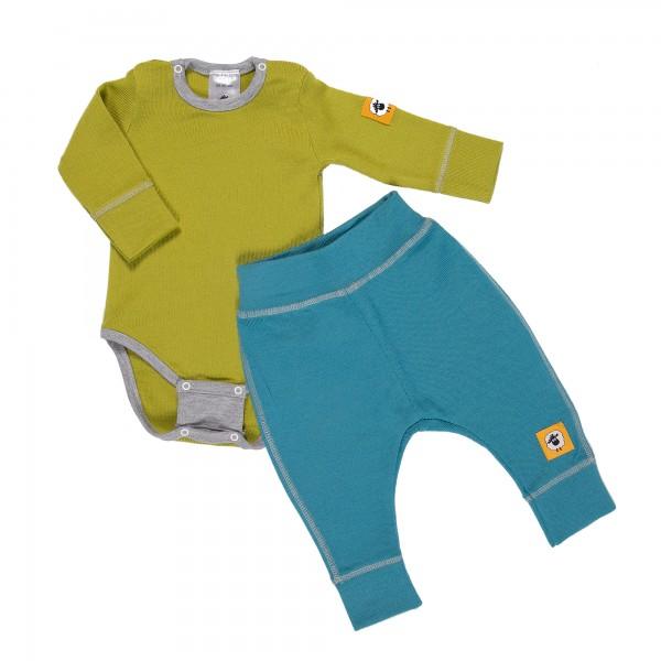 Бебешки комплект от 100% МЕРИНО в зелено и синьо