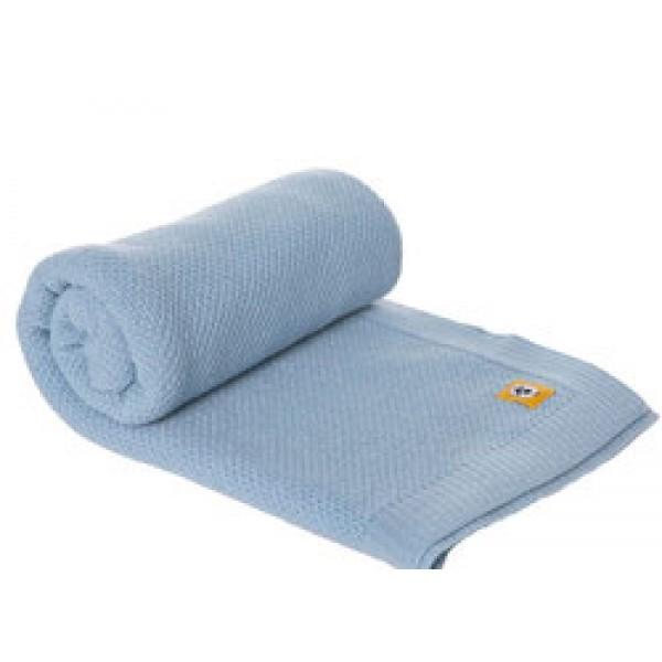 Бебешко одеяло от мериносова вълна 80 х 100см синьо