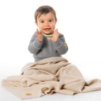 Бебешко одеяло от мериносова вълна 110 х 160см бежаво
