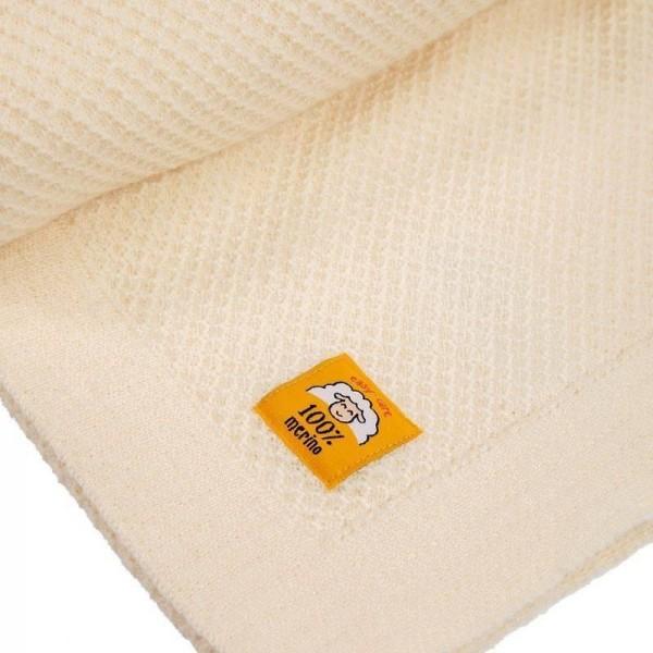Бебешко одеяло от 100% мериносова вълна 80 х 100см цвят екрю