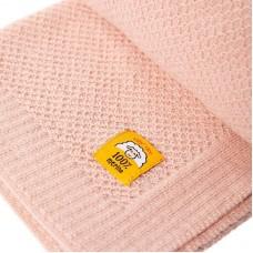 Бебешко одеяло от мериносова вълна 80 х 100см , цвят пудра