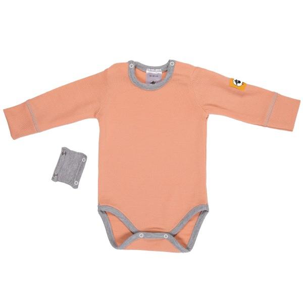 Бебешко боди с удължител от 100% МЕРИНО в розово
