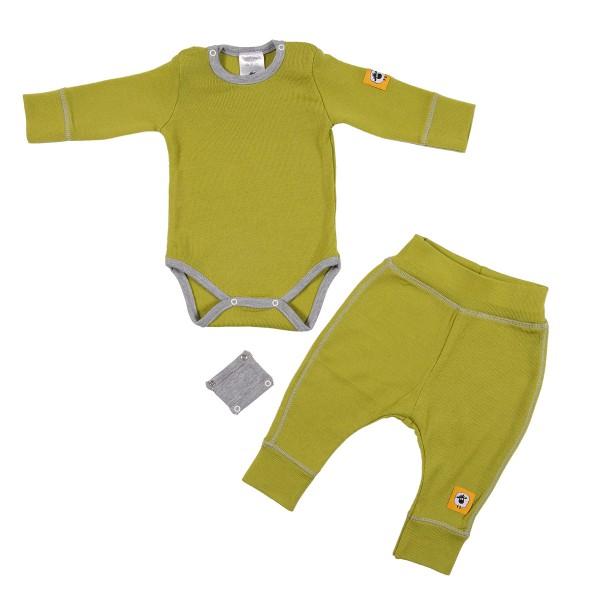 Бебешки комплект от 100% МЕРИНО в зелено