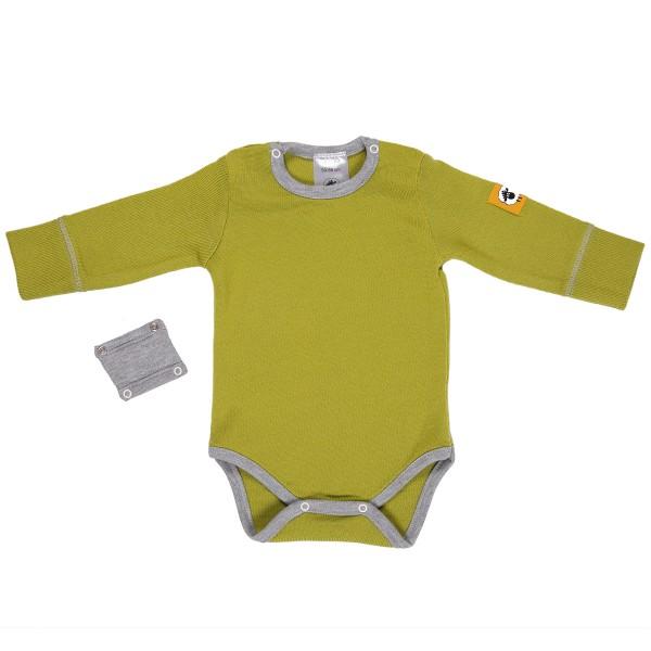 Бебешко боди с удължител от 100% МЕРИНО в зелено