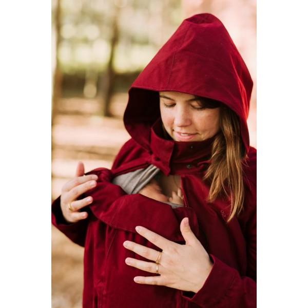 Зимно яке за бременност и бебеносене Momawo 4 в 1 Червено