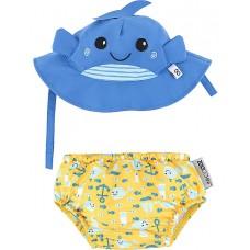 Комплект бебешки бански и шапка Китът Уили UPF 50+